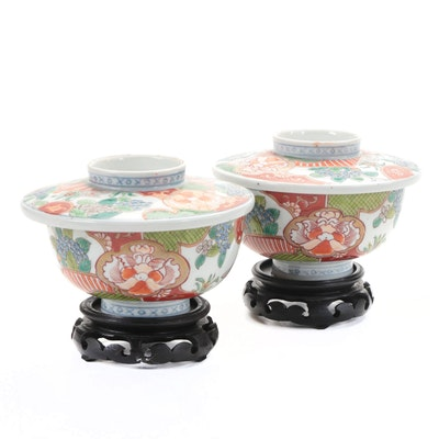 Japanese Imari Porcelain Covered Rice Bowls with Stands, Late 19th Century
