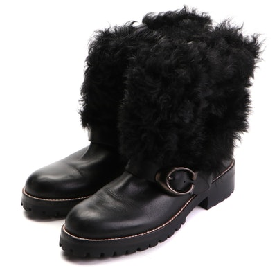 Coach Leighton Booties G2876 in Black Leather with Shearling Cuffs and Box