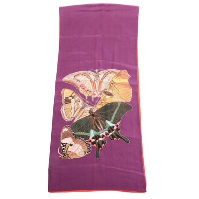 Metropolitan Museum of Art 2-Ply Silk Wrap with Printed Butterfly Motifs