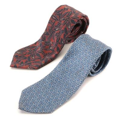 Men's Hermès and Valentino Printed Silk Neckties