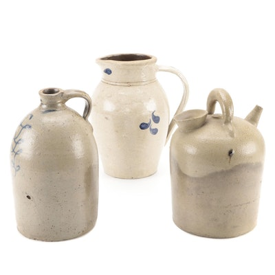 Salt Glazed Stoneware Jugs and Pitcher, Late 19th/ Early 20th Century