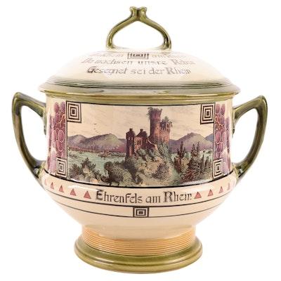 "Mettlach ""Bacharach am Rhein"" Stoneware Covered Tureen, Early 20th Century"