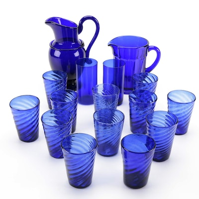 """Carl Erickson """"Saratoga"""" and Other Pitcher with Blown and Pressed Glasses"""