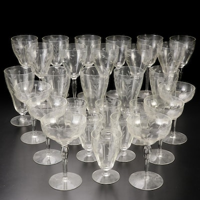 Etched Glass Water Goblets and Wine Glasses