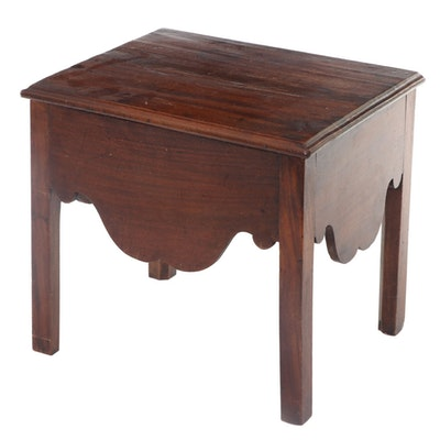 Victorian Mahogany Lift-Top Storage Table or Stool, Late 19th Century