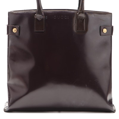 Gucci Shoulder Tote in Smooth Burgundy Leather