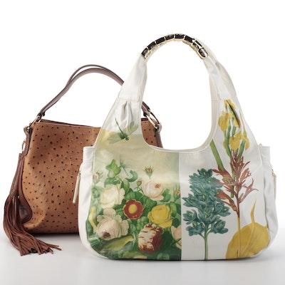 Sharif 1827 Floral Leather Hobo and G.I.L.I. Embossed Leather Shoulder Bag