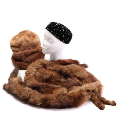 Full-Pelt Fur Stole, Pastel Mink Fur Hats, and Embellished Velvet Pillbox Hat