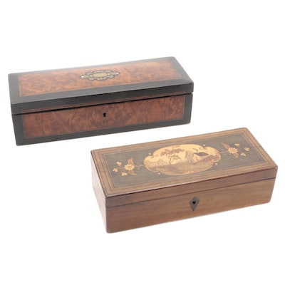 French Napoleon III Ebony and Burled Wood Boulle Inlaid Glove Box with Other Box