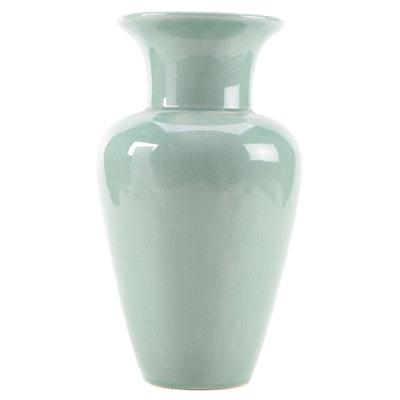 Celadon Glazed Stoneware Baluster Vase, Late 20th Century