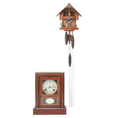 German Cuckoo Clock with Mahogany Cased Eight Day Mantle Clock