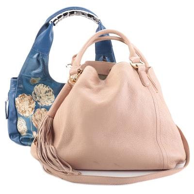 Sharif 1827 Floral Leather Hobo and G.I.L.I. Grained Leather Shoulder Bag