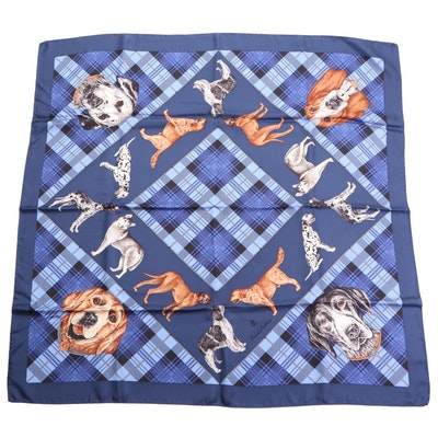 """Brooks Brothers """"Plaid Dogs"""" Printed Scarf in Silk Twill in Box"""