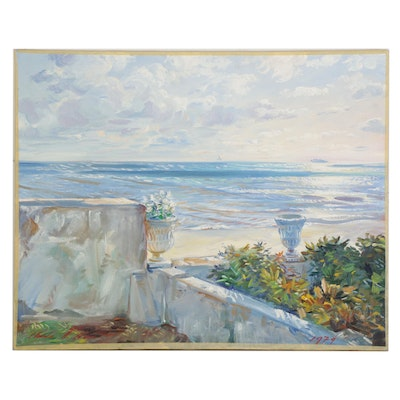 """Charles Merrill Mount Oil Painting """"The Sea Wall at Neponsit,"""" 1974"""