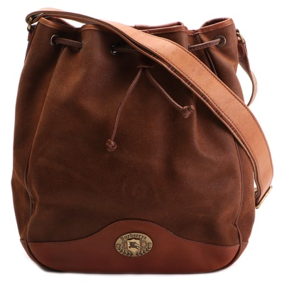 Burberrys Bucket Bag in Brown Textured Suede and Leather