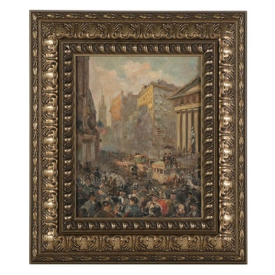 Oil Painting of Crowd Outside New York Stock Exchange