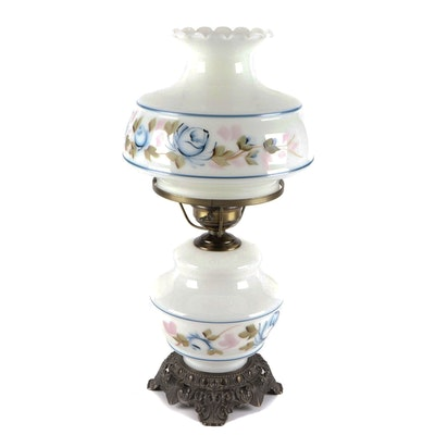 Victorian Style Hand-Painted Milk Glass Parlor Lamp, Late 20th Century