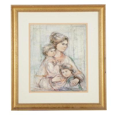"Edna Hibel Offset Lithograph ""Julia and Children,"" 1987"
