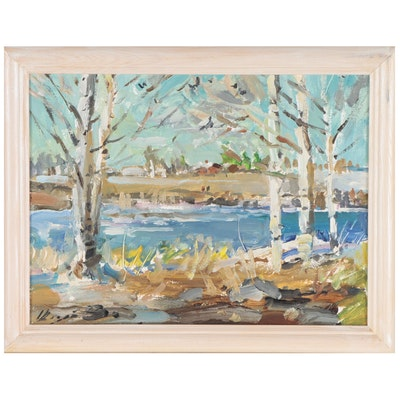 River Landscape Oil Painting, Late 20th Century