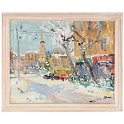 Winter Urban Street Scene Oil Painting, 1994