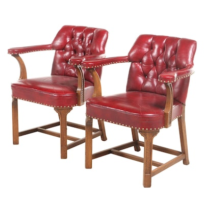 """Pair of Romweber """"Nordic"""" Carved Oak and Buttoned-Down Leather Armchairs"""