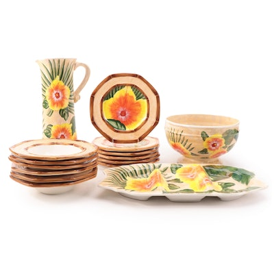 """Nanette Vacher for Ambiance """"Royal Palm"""" Ceramic Tableware, Late 20th C."""