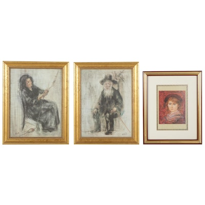 """Edna Hibel Offset Lithographs """"Old Man With Beard,"""" """"Red Head,"""" and """"Spinner"""""""