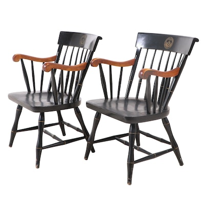 Pair of Nichols & Stone for Williams College Parcel-Ebonized Windsor Armchairs