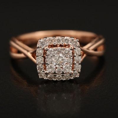 14K Rose Gold 0.47 CTW Diamond Ring