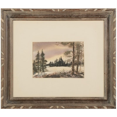 """Lillian Mullins Watercolor Painting """"Lo, the Sunset,"""" Mid-Late 20th Century"""