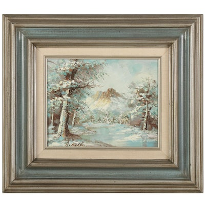 A. Kelly Landscape Oil Painting of Mountain Valley Pond, Late 20th Century