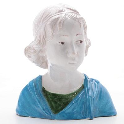 "Italian Majolica ""Bust of Boy"" after Della Robbia, Late 20th Century"