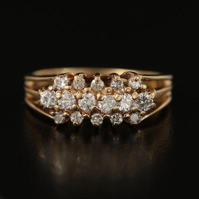 14K 0.33 CTW Diamond Triple Row Ring