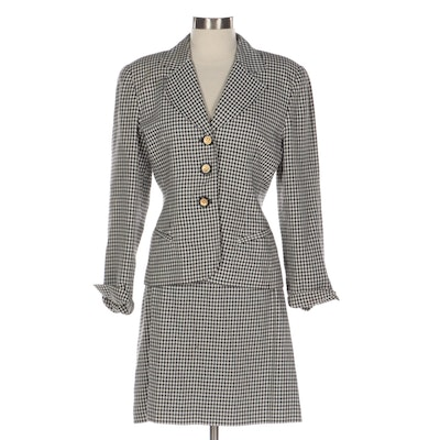 Christian Dior Skirt Set in Gingham Twill Polyester Rayon Blend