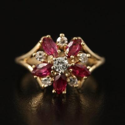 14K Ruby and Diamond Flower Ring
