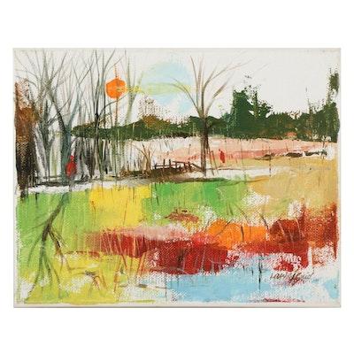 "Said Oladejo-lawal Acrylic Painting ""Sunset 2,"" 21st Century"