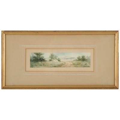 H. Amie Country Road Watercolor Painting, Early 20th Century
