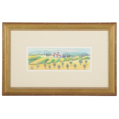 Spanish Countryside Watercolor Painting, 1998
