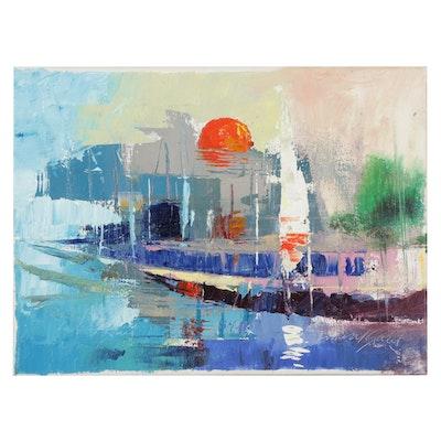 "Said Oladejo-lawal Acrylic Painting ""Sunset at the Lagoon,"" 21st Century"