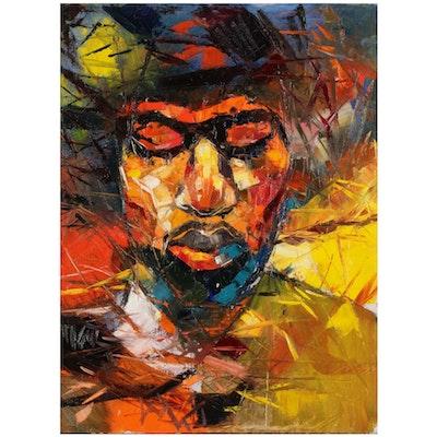 "Said Oladejo-lawal Oil Painting ""Funkadelic Brother,"" 21st Century"