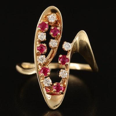 14K Diamond and Ruby Freeform Ring