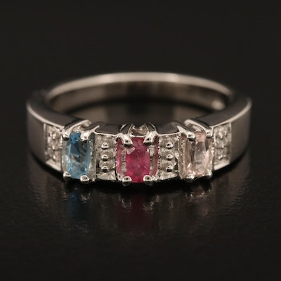 Sterling Ring Including Morganite, Tourmaline and Zircon