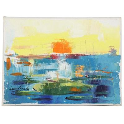 """Said Oladejo-lawal Acrylic Painting """"Sunset I,"""" 21st Century"""