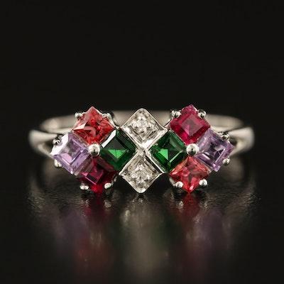 Sterling Tsavorite, Sapphire and Zircon Cluster Ring