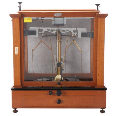 Christian Becker Apothecary Scale in Wood Cabinet with Weights, Powder Paper