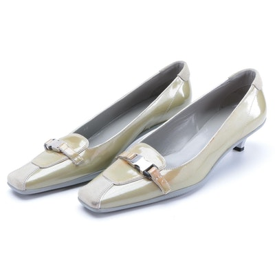 Prada Kitten Heel Square Toe Loafers in Patent Leather with Suede and Buckle