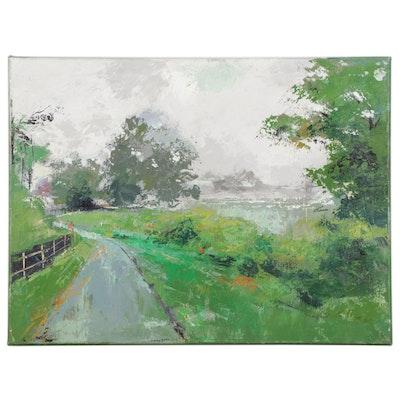 """Said Oladejo-lawal Acrylic Painting """"Foggy Sharonwood Day 2,"""" 21st Century"""