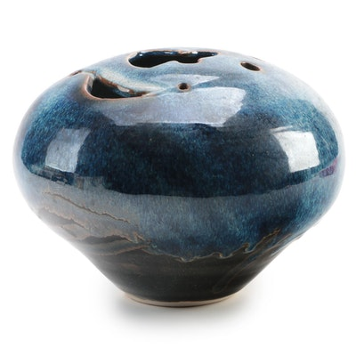 Signed Flambe Drip Glazed and Pierced Studio Art Pottery Orb Vase