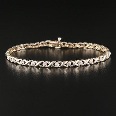 Sterling Diamond Illusion Set X Link Bracelet