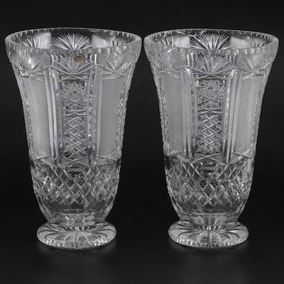 German Cut Crystal Vases, Mid-20th Century